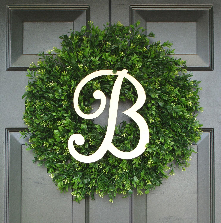 Artificial Boxwood Wreath For Sale - Summer wreath sale faux boxwood wreath monogram wreath outdoor door wreath ready to ship fall wreaths year round wreath spring wreath