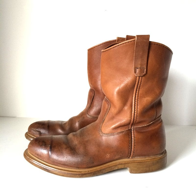 vintage wing pecos boots cognac brown steel by