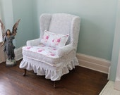 slipcovered wingback chair chenille roses ruffle shabby chic paris slipcover cottage custom order