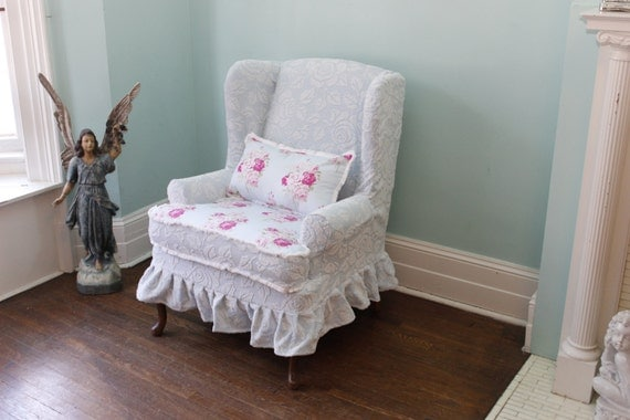 Slipcovered wingback chair chenille roses ruffle shabby chic paris