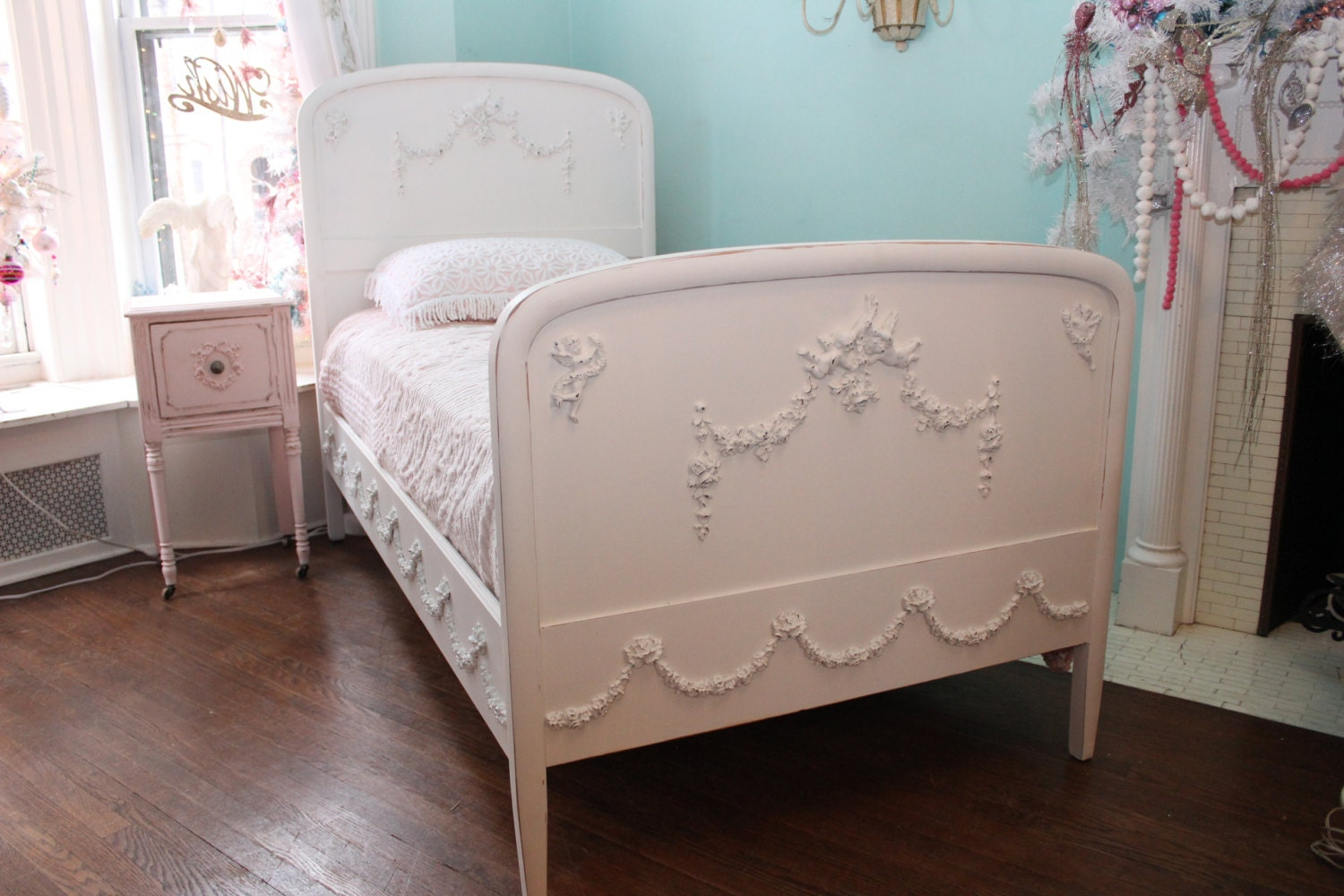 omg antique twin bed frame shabby chic by vintagechicfurniture