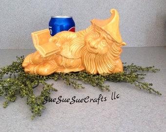Garden Gnome yard statue with Book  bright honey color