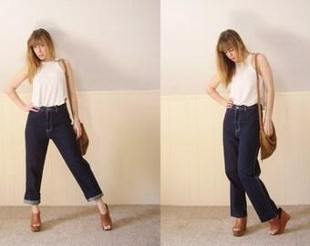 Indigo Blue High Waist Straight Leg Hippie Blue Jeans GITANO - Vintage 80s - SMALL S M 4 6