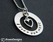 Sterling Silver I Love You Most Washer Necklace, Personalized Gifts, Valentines Day gifts, by RosesDesigns