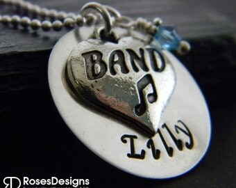 Personalized Band Necklace, Hanstamped Necklace, Band, Orchestra, Strings, Personalized Jewelry, by RosesDesigns