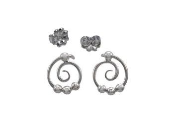 Dew Drop Tendril Spiral Stud Post Earrings