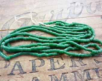 Vintage Green Jade Glass Size 8 2x3mm Tubular Seed Beads (2 Strands) SB1036