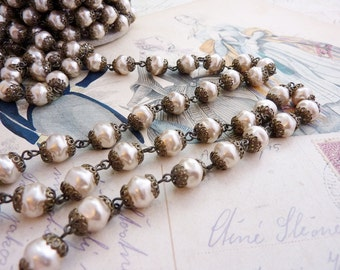Bead Chain 8mm Baroque Glass Pearl Light Coffee 18 Inch Section #049