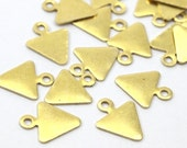 50 Raw Brass Triangle Charms with Loop (8 x 9.8 mm)  A0504