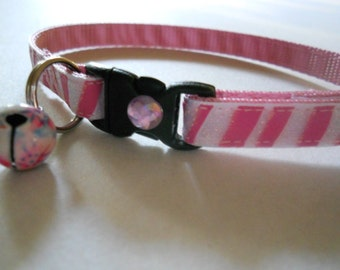 Girl Cat or Kitten Breakaway Collar - Pink and Sparkly White Stripes