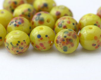 Vintage Yellow Glass Round Millefiori Beads Japan 9mm (10)