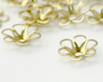 Raw Brass Flower Dome Bead Caps 10mm (20)