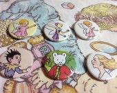 Rupert the Bear vintage pin badge set x 6 cut from original 1970s Annual,comic strip,fantasy,Fairy,Pixie,Goblin,gift,present,stocking filler
