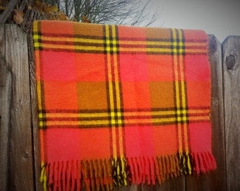 Red, Black and Yellow Plaid Wool Blanket