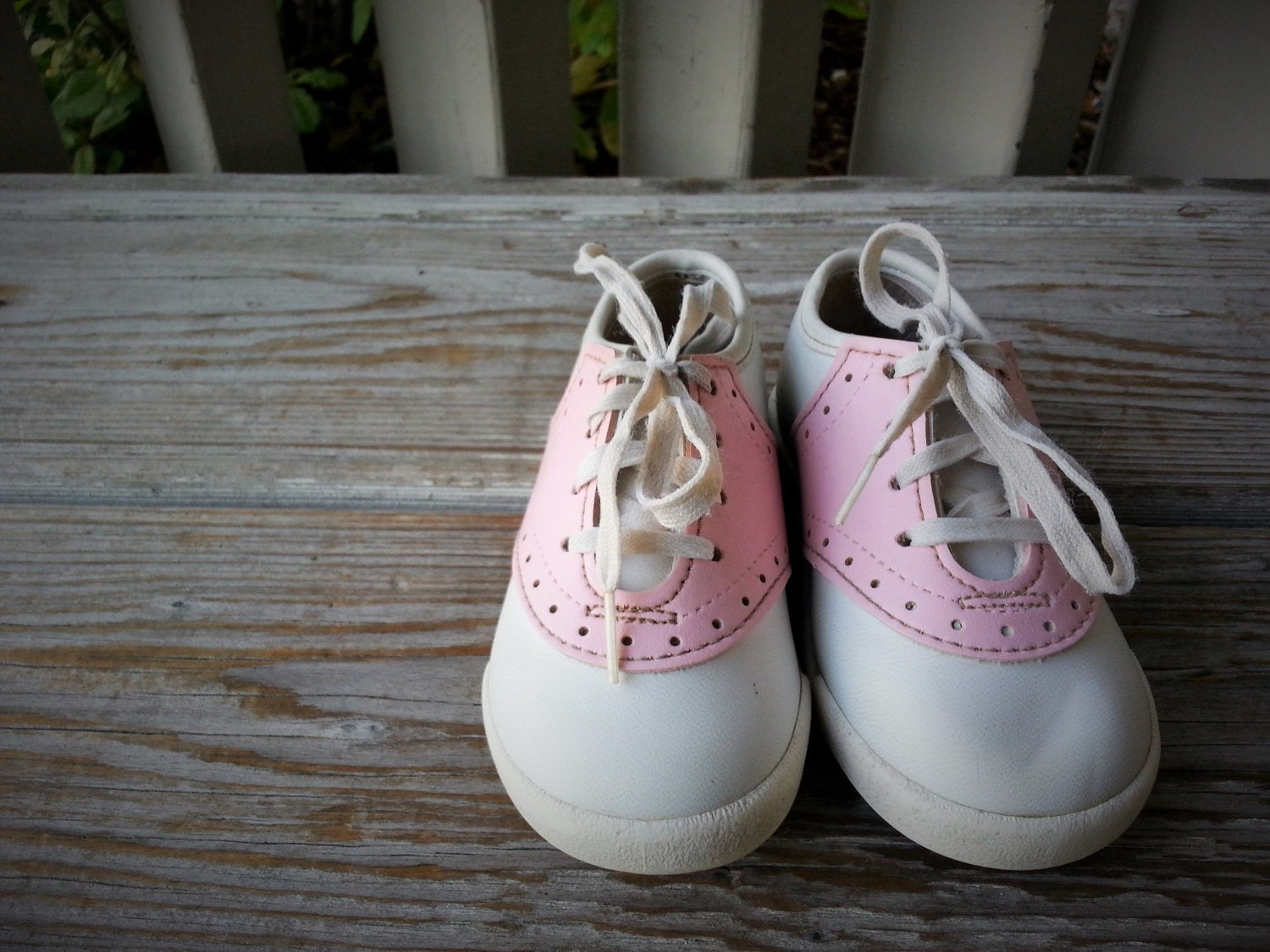 Pink and White Saddle Oxford Baby Shoes Size 4