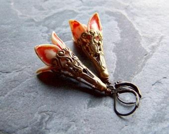 Flower Earrings-Orange Flower-Long Earrings-Filigree Earrings-Brass Earrings-Spring Earrings-Shabby Chic Jewelry