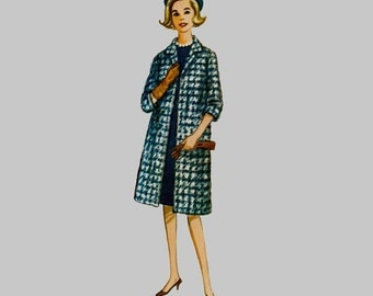1963 Misses Coat Sewing Pattern McCall's 7027 Lined coat Set in sleeves Just below knee length Pointed collar Size 18, Bust 38 inches