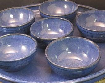 Handmade Ceramic Passover Platter or Tapas Platter with Bowls - Indigo Blue / Cobalt
