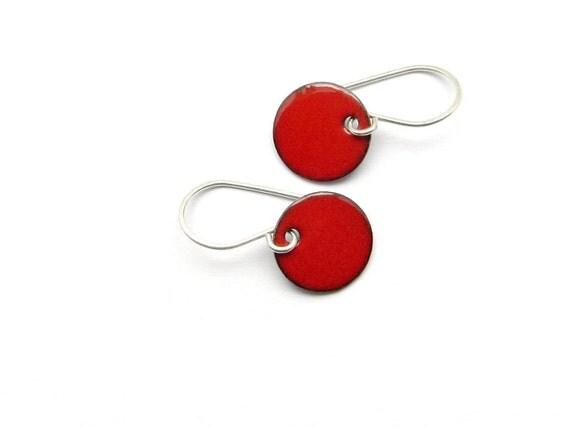 Small Red Earrings - Red Enamel Earrings - Red Dangle Earrings - Strawberry Red Enamel - Small Dangle Earrings - Enamel Jewelry / Candies