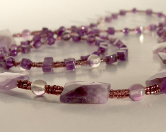 Lariat - Amethyst and Rainbow Flourite - Long