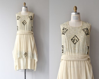 Moku-hanga silk dress | antique 1920s dress | silk embroidered 20s dress