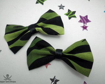 Green Zebra Print Punk Rock Hair Bow Set