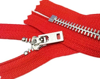 4 Inch Jeans Zipper YKK #5 Brass With Locking Slider Closed Bottom Select Color 10 Black and 10 Red