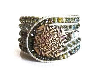 Sea Foam Green Crystal Bead Leather Cuff Bracelet, Handmade, 5 rows, Czech crystal beads, Ivory Leather Cord,