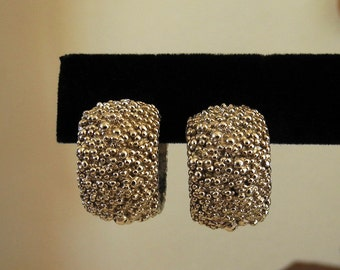 Vintage earrings Napier silver tone Modernist style hinged closure