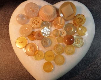 Vintage  Buttons  Lot of 30   Assorted Shape Honey and Creme Color
