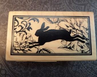Inkadinkado Wood Rubber Stamp Running Rabbit