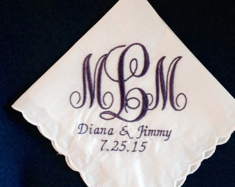 Bridemaid's  gifts. TWO Personalized monogrammed handkerchiefs