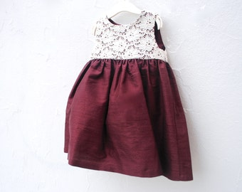Girls Dress in Marsala with Silk and Antique Lace- The Margot Dress - Spring Fashion- Toddler Girls Dress (Ready to Ship, Size 3T)