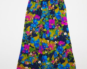 Vintage Skirt 60s Tropical Flowers