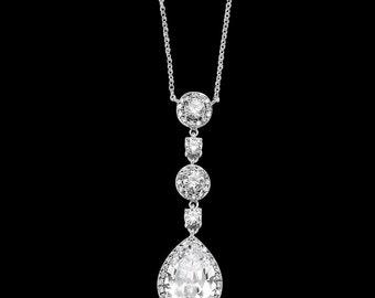 crystal drop wedding necklace pendant vintage style gold tear pear drop crystal bridal necklace Art Deco Baroque