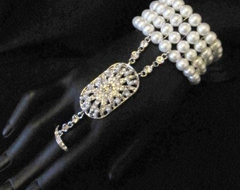 Great Gatsby pearl bracelet, UK SELLER Daisy Art Deco Flapper Downton Abbey, Great Gatsby bracelet