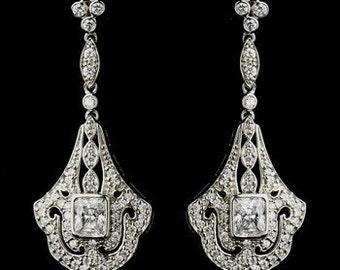 1920s wedding jewellery Art Deco bridal earrings vintage inspired Art Nouveau 1920s/30s style crystal drop wedding bridal earrings silver