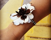 Black & White Orchid Cuff Bracelet- Heirloom Collection