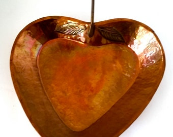 SALE Rustic, hammered Copper heart shaped Dish or Wall decor
