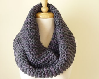 """Knit Infinity Scarf 9"""" x 60"""" Lavender Grey Hand Knit Chunky Infinity Scarf  8"""" x 60""""  - Ready to Ship - Direct Checkout"""