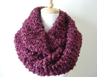 """Knit Infinity Scarf 8"""" x 76"""" Gift Idea for Her, Fashion Accessories Eternity Scarf, Circle Scarf, Soft Warm Scarf in Wine Berry Hand Knit"""