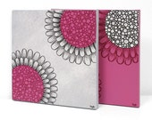 Modern Flower Wall Art - Set of Two Original Paintings on Canvas in Fuchsia and Gray - Small 21x10