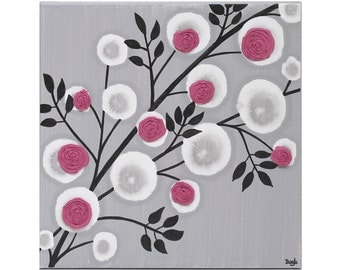 Teen Room Canvas Art - Textured Rose Painting in Fuchsia and Gray - Small 10x10