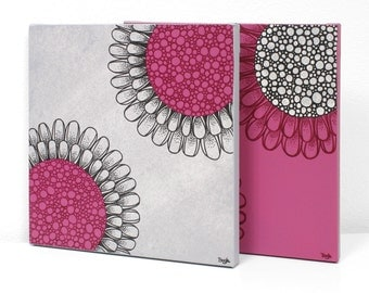 Small Original Paintings - Flower Canvas Wall Art - Fuchsia and Gray - Small 21x10