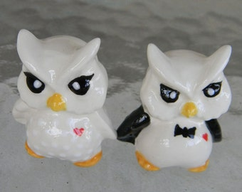 Ceramic  Owl Bride and Groom  Ceramic Wedding Cake Topper   Bird Lovers ...Owlet Hooter  Mr Mrs Hootie couple of hoots