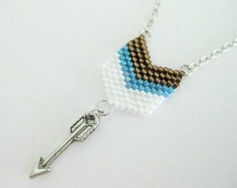 Arrow Necklace / Chevron Pendant /  Peyote Chevron Pendant /  Beaded Pendant in Blue,  White and Brown  / Dainty Necklace / Petite Pendant