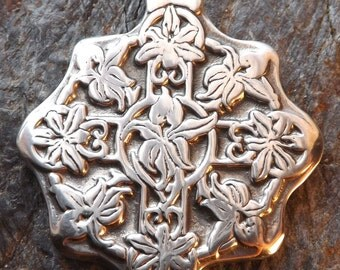 Lily Garden - Pewter Pendant - Nature Jewelry, Flowers, Fairy Gardening Necklace