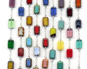 Sterling Necklace, Long Sterling silver multi color necklace, All Sterling Silver Long Size Necklace, Trendy Handmade Jewelry by AnnaArt72