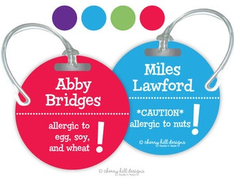 ALLERGY Round premium bag tags - 4 inch - click on image to enlarge - seen in Parents magazine and Family Fun magazine