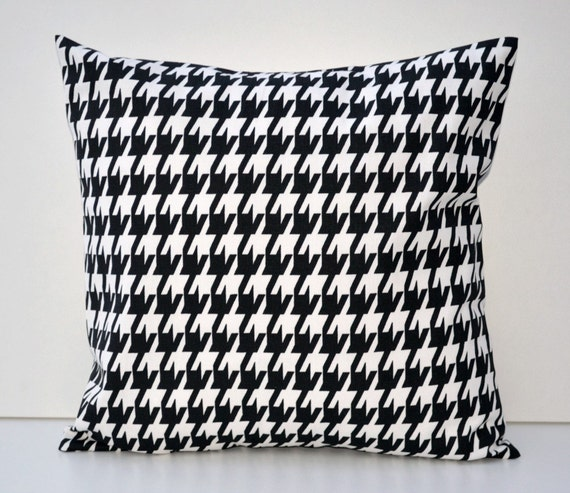 Black Houndstooth Decorative Throw Pillow By